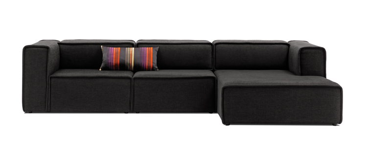 Sofas carmo dark grey mojave fabric sofa with resting for Black fabric couches